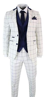 Mens Gregory White and Navy Mens 3 Piece Vintage Suit