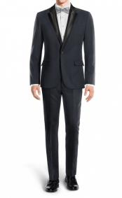 Black Lapel Navy Mens