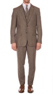 Mens Ferrecci York Brown Slim Fit 3pc Herringbone Suit