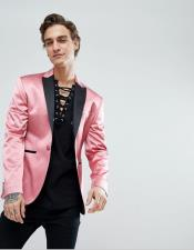 Mens Shawl Lapel One Button Pink Skinny Fit Tuxedo