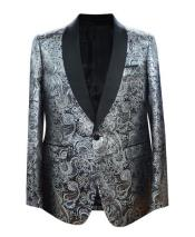Priced Mens Printed Unique Patterned Print Floral Tuxedo Flower Jacket Prom custom celebrity modern Tux Silver
