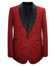 Mens Red Paisley Pattern Unique Patterned Print Floral Tuxedo - Red Tuxedo