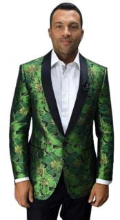 Cheap Mens Printed Unique Patterned Print Floral Tuxedo Flower Jacket Prom custom celebrity modern Tux Green