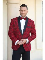 Cheap Mens Printed Unique Patterned Print Floral Tuxedo Flower Jacket Prom custom celebrity modern Tux Red