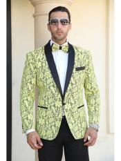 Cheap Mens Printed Unique Patterned Print Floral Tuxedo Flower Jacket Prom custom celebrity modern Tux Royal Yellow