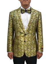 Cheap Mens Bronze ~ Camel Printed Unique Patterned Print Floral Tuxedo Flower