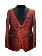 Red Mens Printed Patterned Print Floral Tuxedo