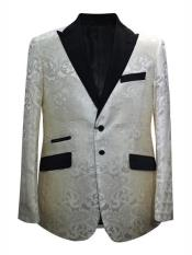 Cream  Ivory Mens Printed Patterned Print Floral Tuxedo