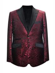 Wine Mens Printed Patterned Print Floral Tuxedo