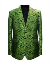 Mens Lime Peak Lapel One Button Suit