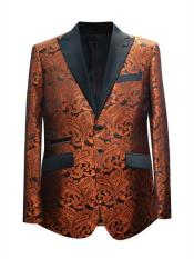 Mens Rust Peak Lapel 2 Button Suit