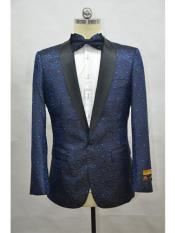 Navy  Black Mens Printed Patterned Print Floral Tuxedo