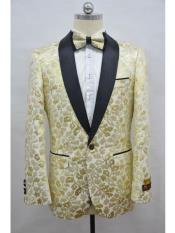 Mens Champagne Four Button Cuff Shawl Lapel Tuxedo