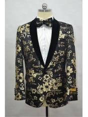 Mens  Black-Gold Four Button Cuff Shawl Lapel Tuxedo