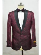 Burgundy  Black Mens Printed Patterned Print Floral Tuxedo Burgundy Tuxedo