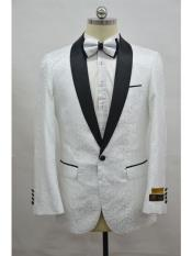 Mens White ~ Black One Button  Suit
