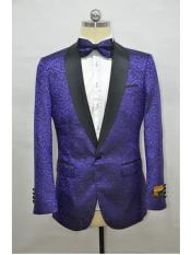 Dark Purple ~ Black Four Button Cuff Tuxedo