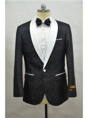 Mens BLack ~ White Four Button Cuff Shawl Lapel Tuxedo