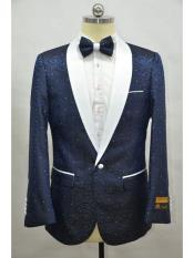 Navy Blue Mens Printed Patterned Print Floral Tuxedo