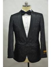 Mens Black Shawl Lapel One Button  Suit