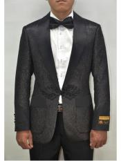 Mens Black Shiny Pattern Peak Lapel One Button Suit