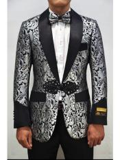 Silver ~ Black Mens Printed Patterned Print Floral Tuxedo
