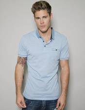 Blue Short Sleeved Athletic Wear