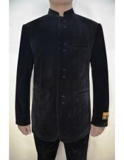 Groom Wedding Indian Nehru Suit Jacket Solid  Velvet Fabric Pattern Mens Blazer Black - Mens Preaching