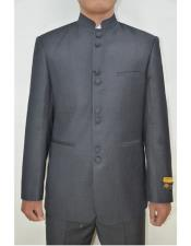Groom Wedding Indian Nehru Suit Jacket Mens Blazer Charcoal