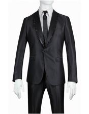 Slim Fit 1 Button Shiny Sharkskin Shawl Suit - Tuxedo with