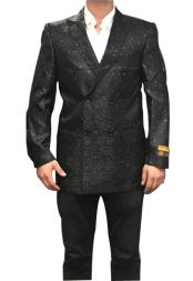 Fancy Paisley Floral Black Double Breasted Blazer Sport Coat Jacket