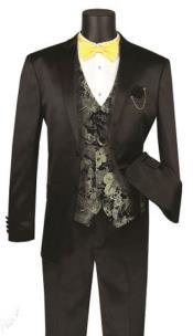 Mens  Shawl Lapel Shiny Stripe 3 Piece Fashion Suit Black