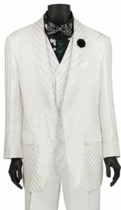 Single Breasted White Shiny Stripe 3 Piece Fashion Suit