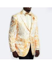 Mens Slim Fit Single Breasted Gold ~ White Single Breasted Blazer