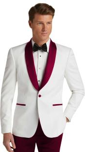 Single Breasted Burgundy Slim Fit Tuxedo Dinner Jacket
