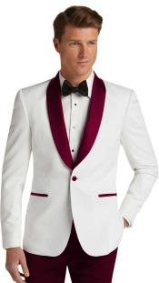 Single Breasted Dark Burgundy Slim Fit Tuxedo Dinner Jacket