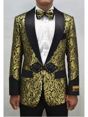 Alberto Nardoni Mens Smoking Cocktail Dinner Jacket Shawl Collar Floral Paisley Flashy Fancy Blazer Gold ~ Black