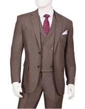 Mens 1920s Vintage style Suit Cedar Brown Plaid 3 Piece F62SQ