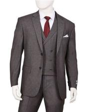 Mens 1920s Vintage Style Suit Gray Plaid 3 Piece F62SQ