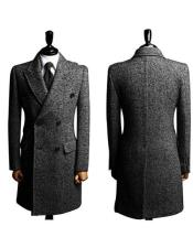 Grey Double Brested Big and Tall Long Mens Dress Topcoat