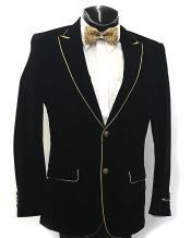 Mens Alberto Cardinali Black Blazer With Gold Trim