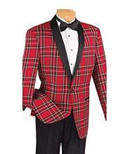 Red Plaid Tuxedo Jacket with Flat Front Black Pants Advanced Pre Order