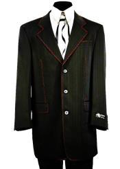 Designer Matte Stitched 2pc Zoot Suit Set - Black w/ Red Stitching