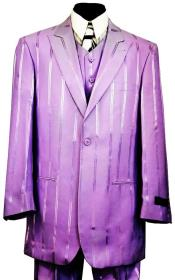 Reflective Stripes 3pc Zoot Suit Set - Lilac