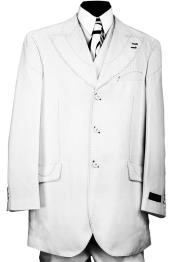 Designer Arc Lapel Striped 3pc Zoot Suit Set - White