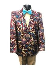 Mens 2 Button Organic Print Blazer In Burgundy ~ Gold ~ Blue