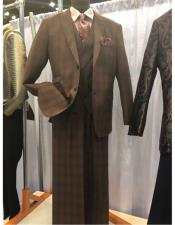 Mens Brown Two Button Suit