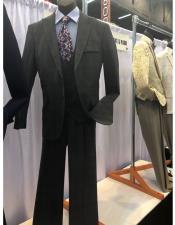 Mens Black Two Button Suit
