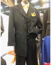 Mens Black Six Button Suit