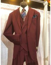 Wool Suit 1 button With Double breasted Vest Pleated Pants Burgundy